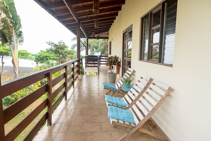 Access, ocean view and lounge chairs
