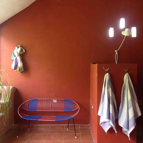 """Outdoor shower on your private balcony. """"The shower was actually outside! At first I was taken aback, but it was actually awesome!"""" --David"""