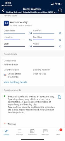 Recent review from one of our Awesome guest, Thanks to Mr. Andrew Baker of USA.