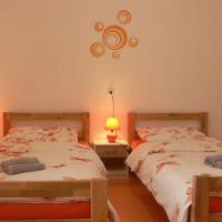 Twin room with 2 single beds and private bathroom