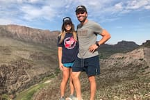 "This is my sister and I at one of the incredible Rio Grande overlooks in Big Bend Ranch State Park. There is a beautiful highway drive that meanders through the mountains from Lajitas to Presidio following the Rio Grande. The entrance to the state park is 38 miles from the ""Big Bend Glamping"" property."