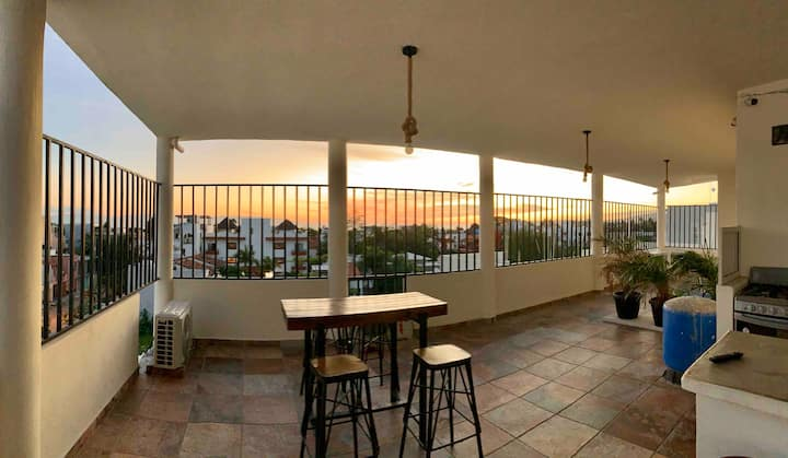 Hostal Bucerias w/ A/C, back patio, BBQ, Breakfast
