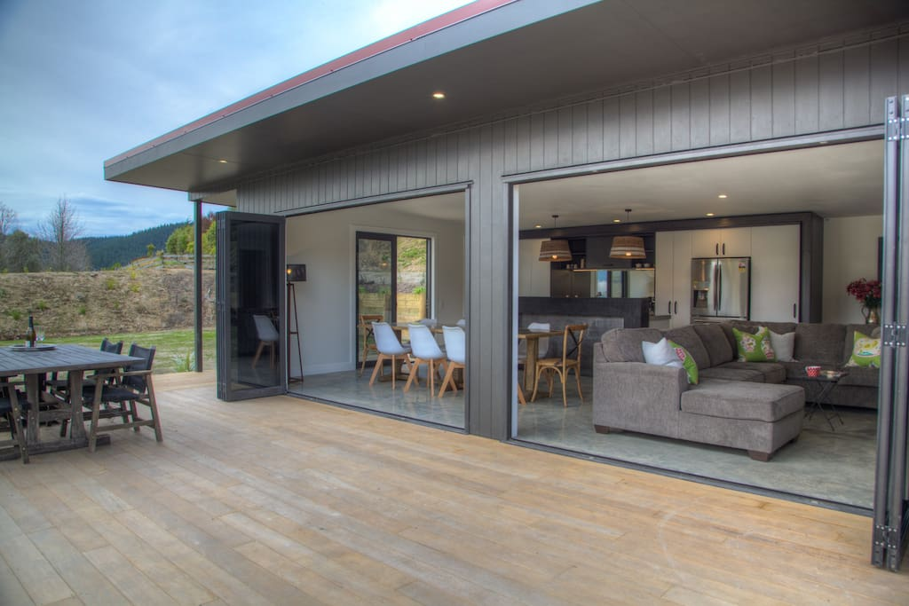 Large deck with open living areas