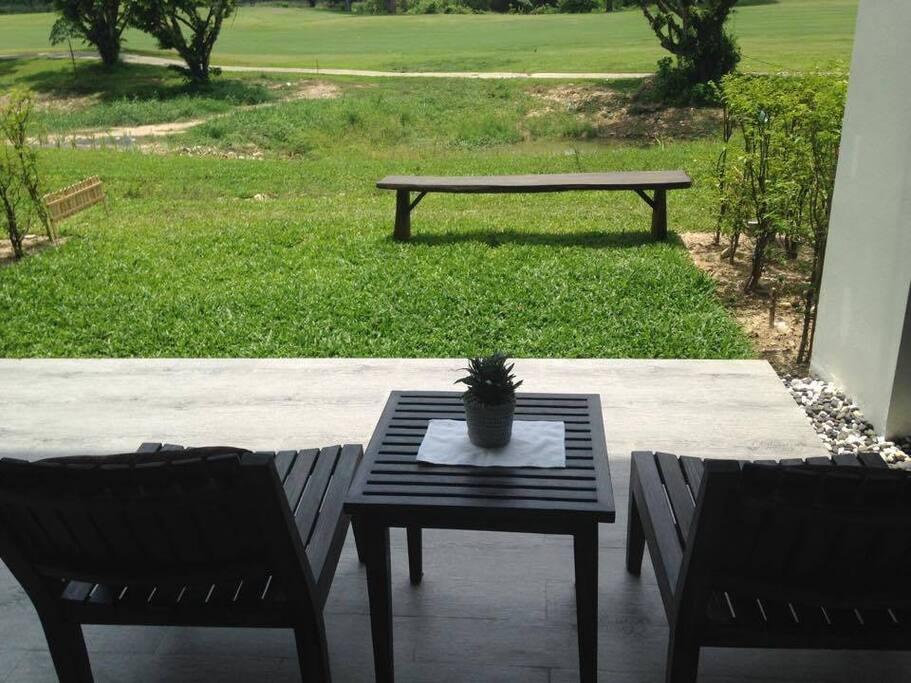 You can enjoy the mountain view from backyard.