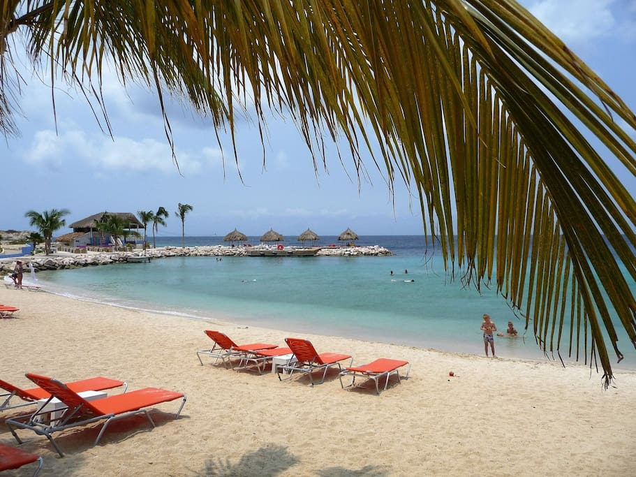 Private Beach Blue Bay Curacao Sunbeds free for our guests