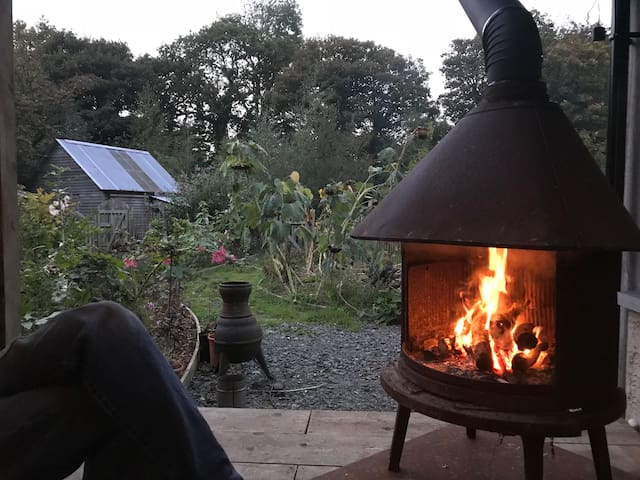 woodburner on the deck...posh glamping with luxury bedrooms and en suite bathrooms