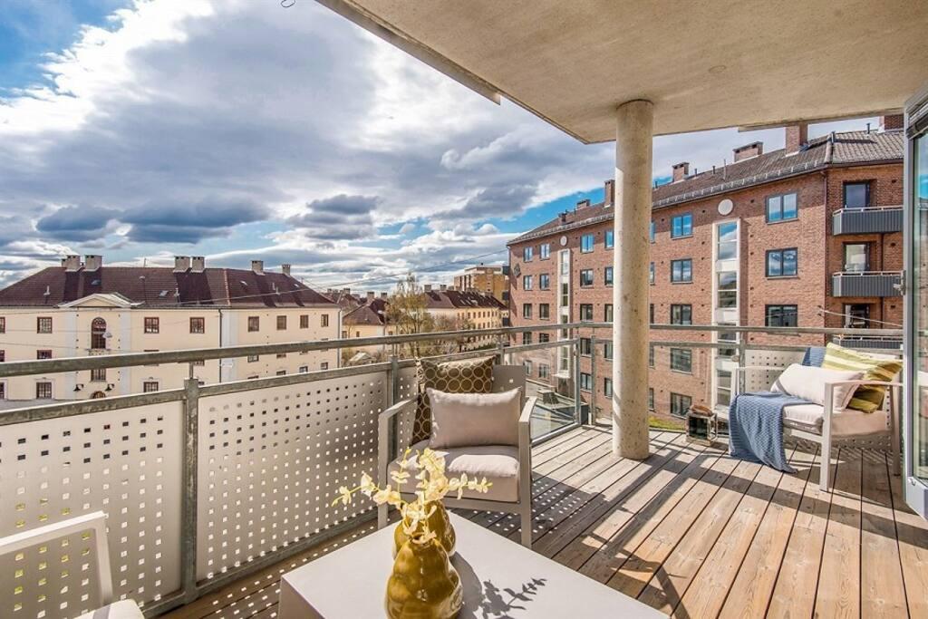 Utsikt og balkong