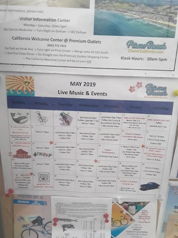 Live Music & Events: This calendar of events is posted on the kiosk on Pismo Pier. Some of the happenings in the town.  Check it out.  Also the Tourist Info center on Dolliver st.
