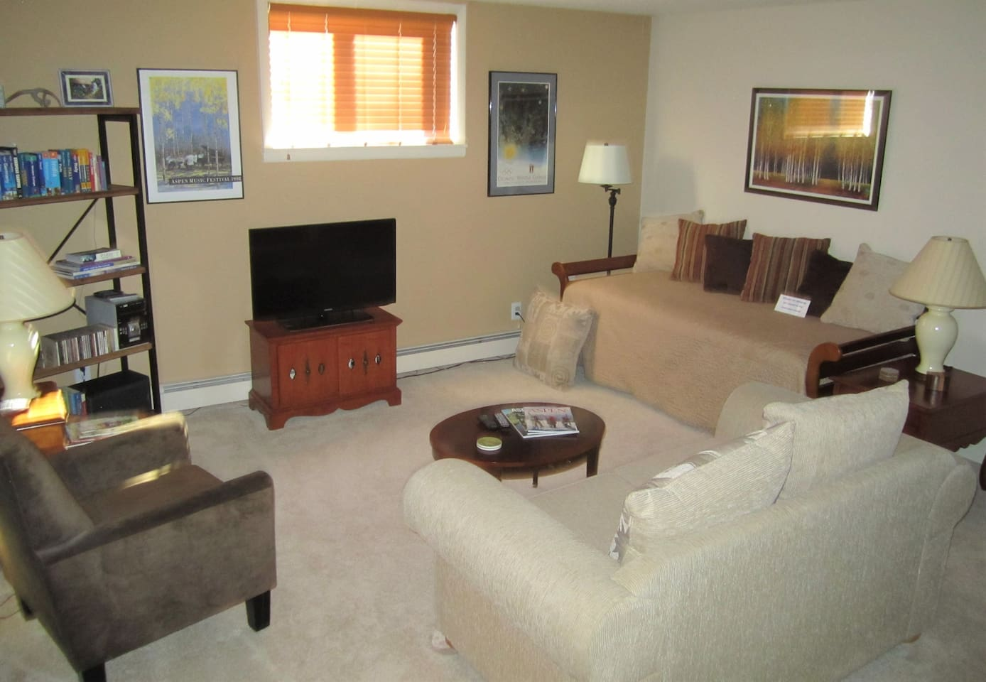 Family room includes a trundle bed