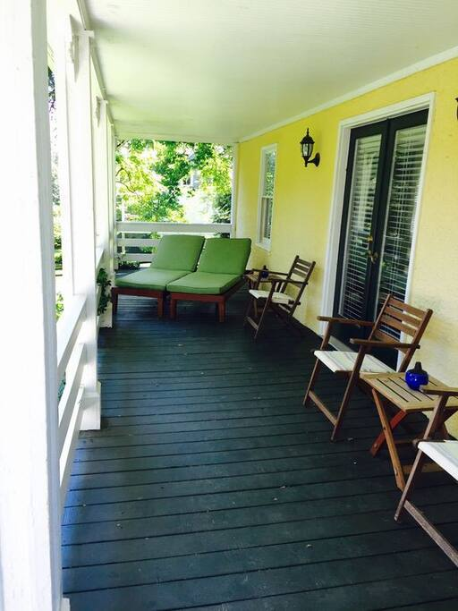 The covered front porch, perfect for relaxing and taking in the area nature.