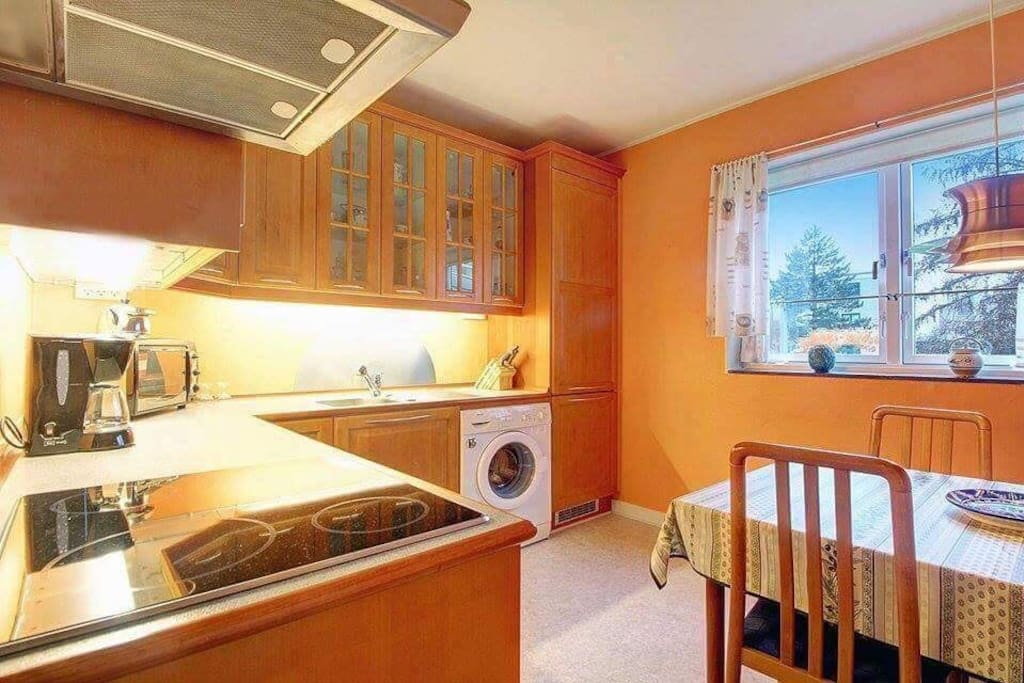 Full equipped kitchen with dishwashing machine.