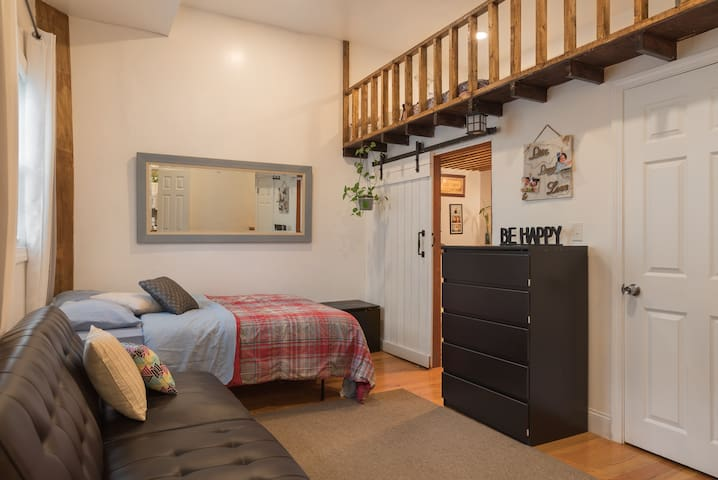 Queen size bed. Sofa bed and a full spacious bathroom on ground level. King size bed on loft