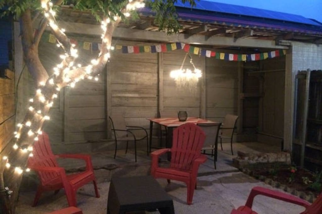 Private patio at night.