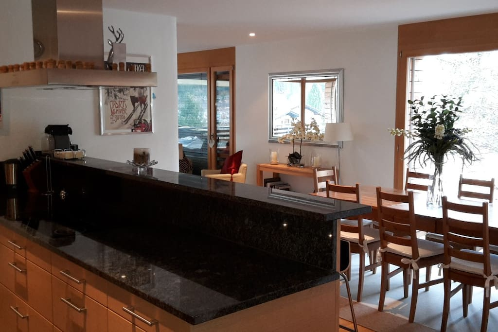 Kitchen and Dining area with views to Madrisa