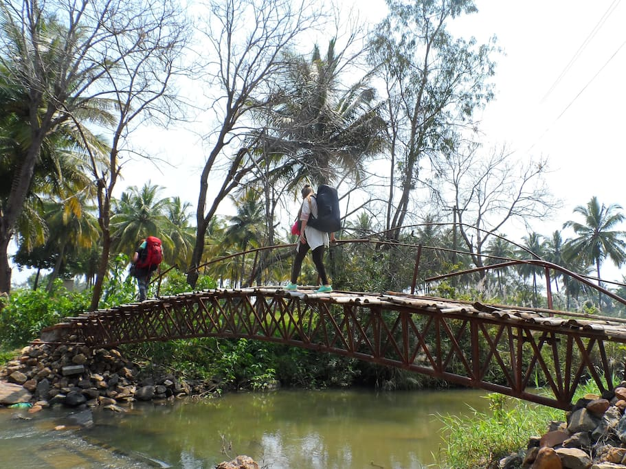 The footbridge you have to walk across to reach our site