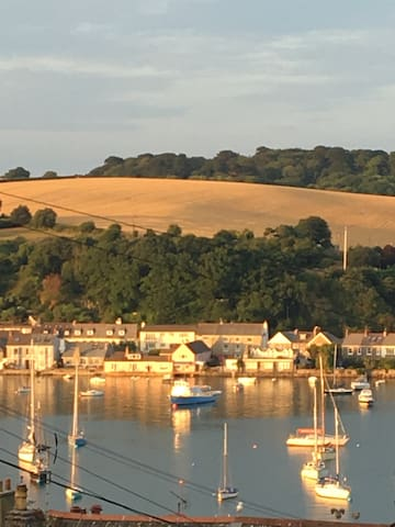 Evening sun from the bedroom window, river Fal overlooking Flushing