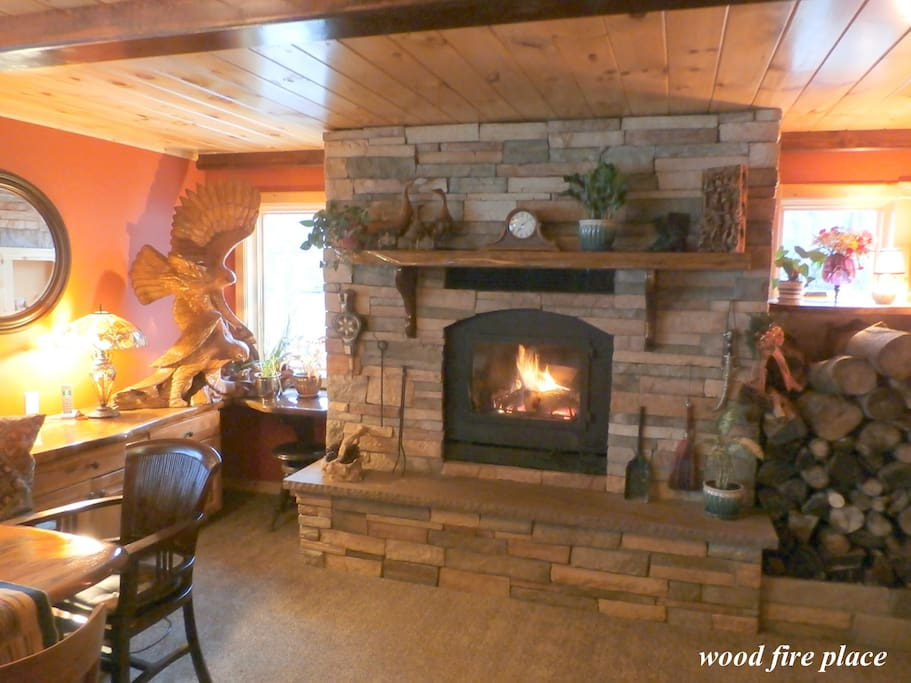 Large wood fire place in the dinning/sitting room