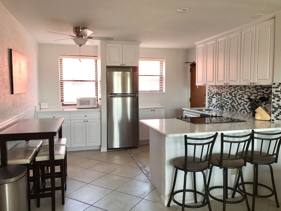 Updated kitchen with amenities above and beyond most rentals