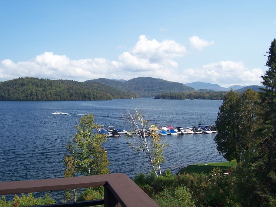 Another view from our deck, overlooking the Moose Lodge Boathouse and marina...