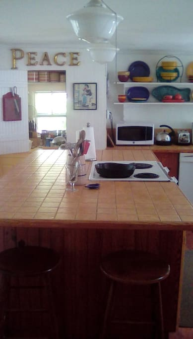Middle of kitchen, 4' x 8' Italian tile counter