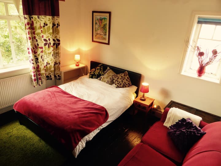 Large room with garden view, close to City centre