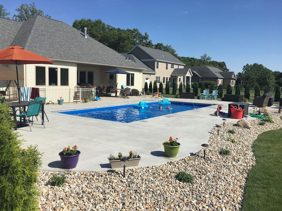 Pool, outdoor dining and fire pit.