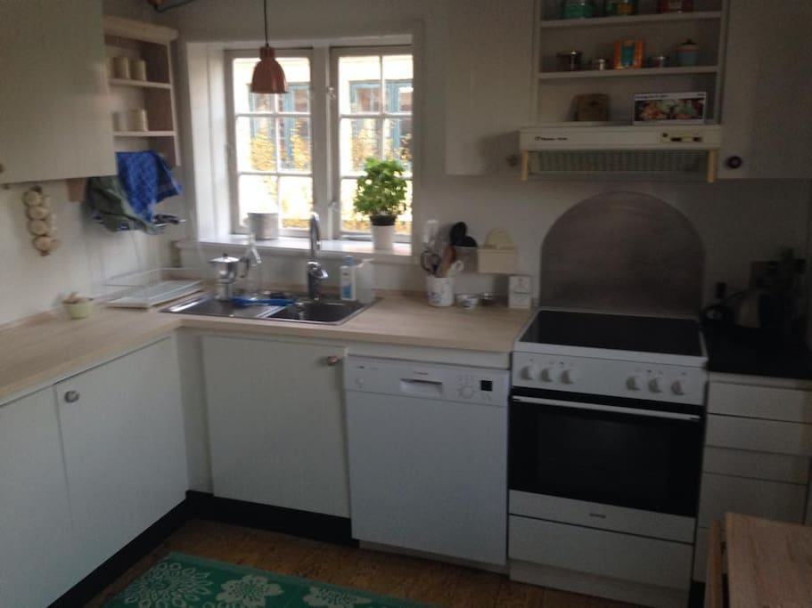 The kitchen. A baby chair has later been added.