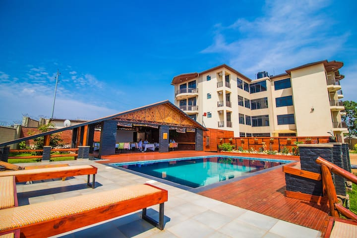 Studio with poolview balcony at Peponi Kagugu