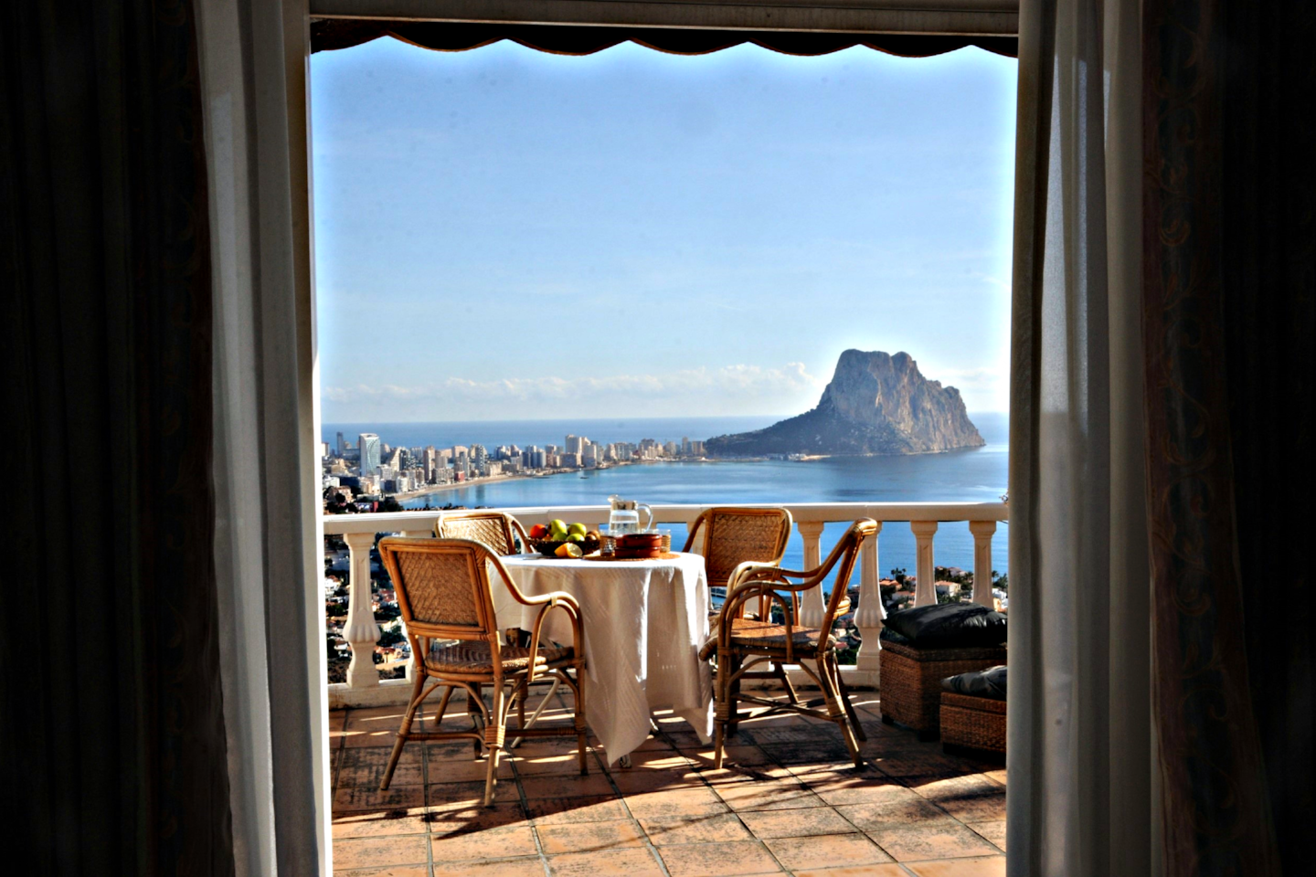 Private terrace with one of the best views in town! It's quiet and serene up here. The perfect start of a holiday day.