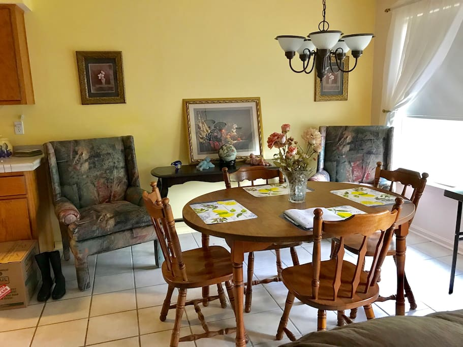 Dining Room, with Arm Chairs to visit and look outside at yard