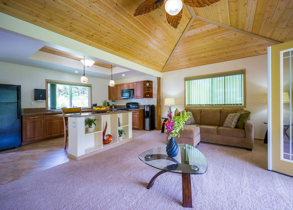 You will enjoy all this home has to offer.  Large vaulted ceilings, comfortable furnishings, stylish decor.