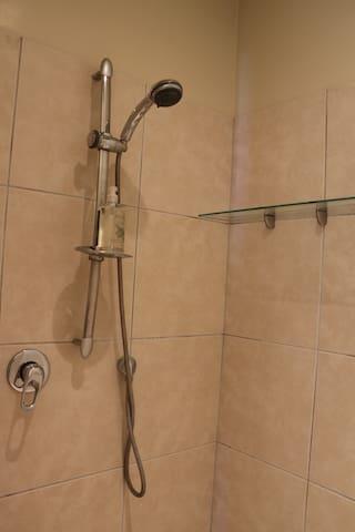 Modern, roomy wet floor shower in ensuite.