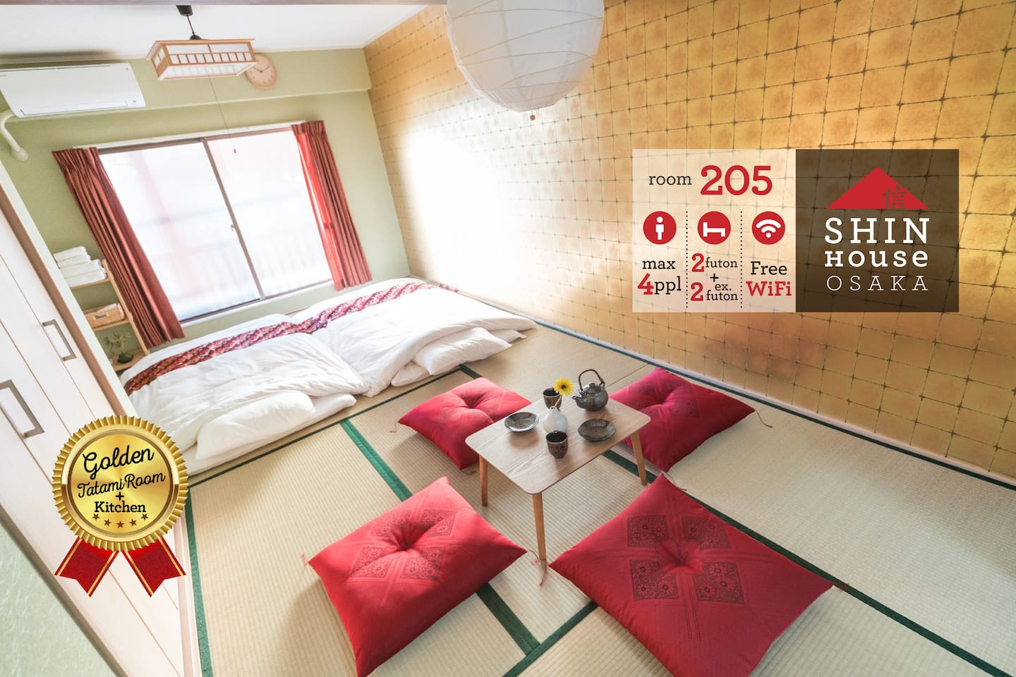 Authentic Japanese Room Coordinated with Golden wall for 1-4 People, Just Renovated in Apr 2017