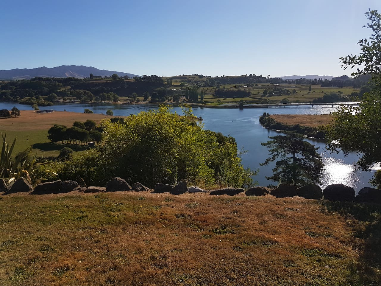 Lake Karapiro and Sanctuary Mountain view from the house and deck