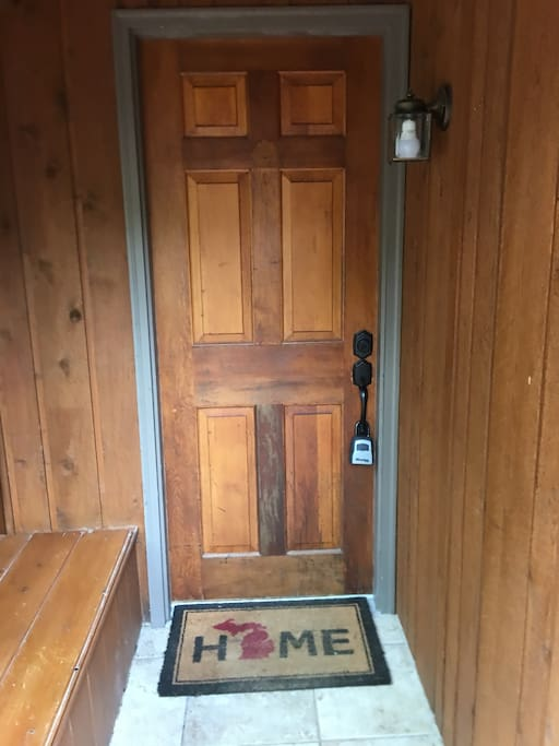 Front door with lock box