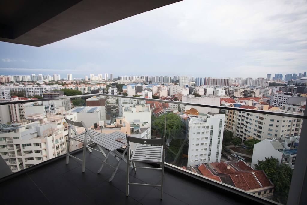 Spacious balcony with rare panoramic view of Singapore.