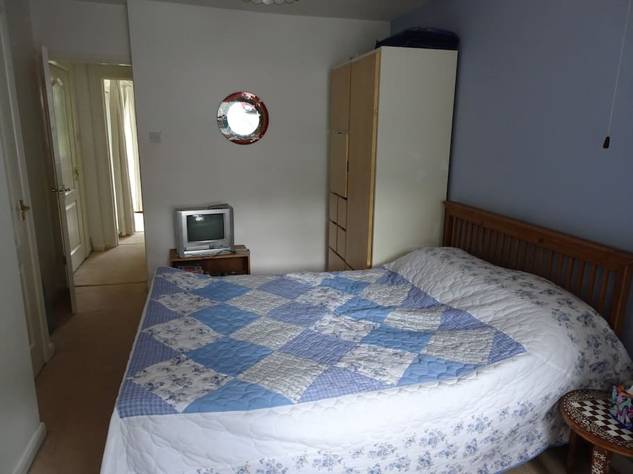 Double Bed in Bedroom with TV & DVD player, hairdryer and ironingboard/iron.