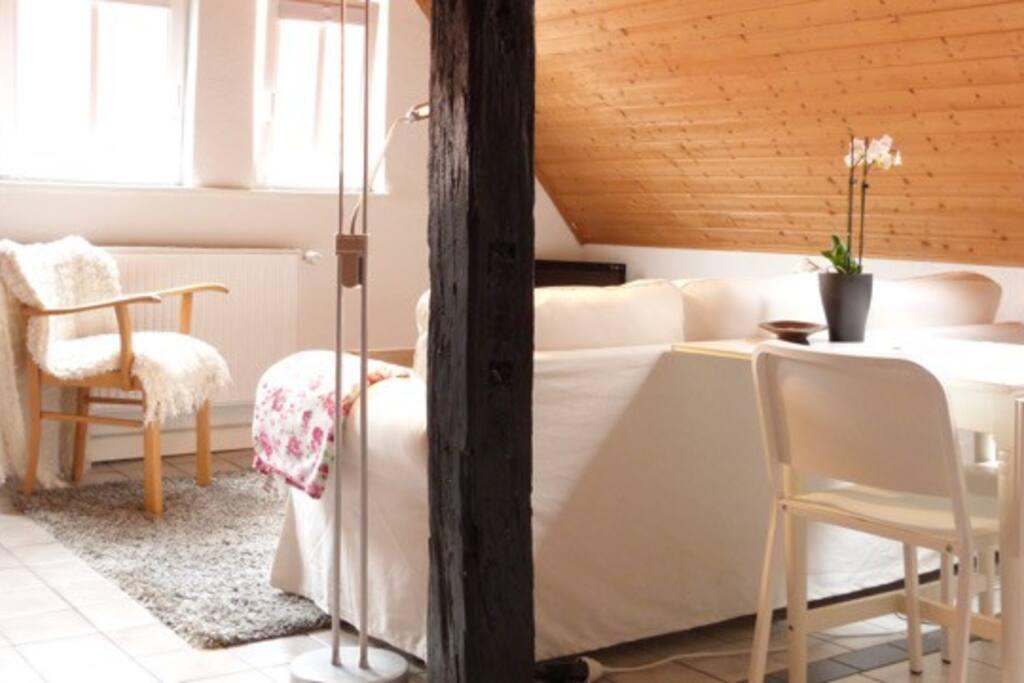 Wohnraum mit Fernseher und WLAN
