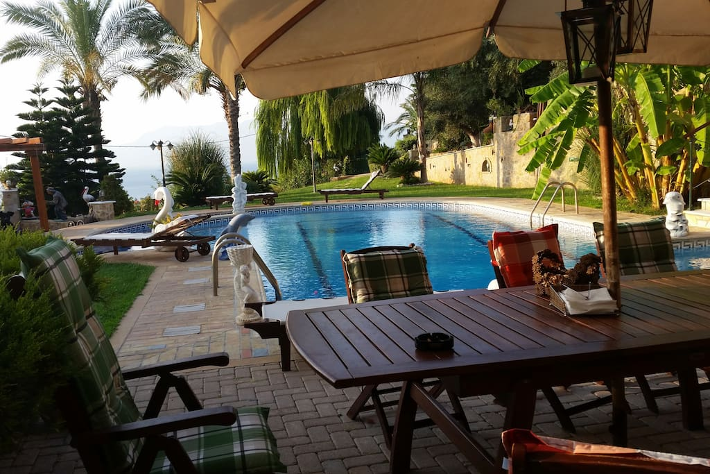 Pool side in the morning