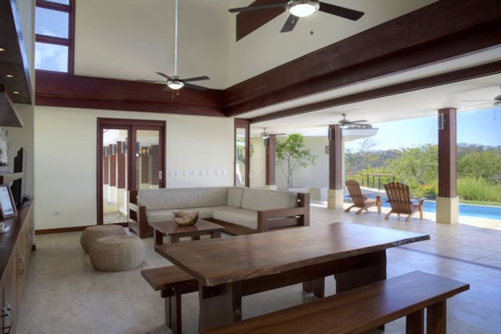 Living room & dining room open to the pool and ocean view, Casa Tres Hermanos