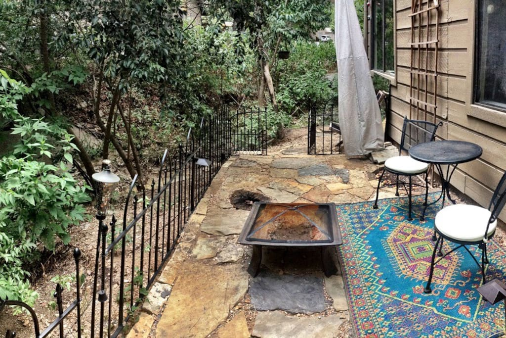 Private back patio and creek