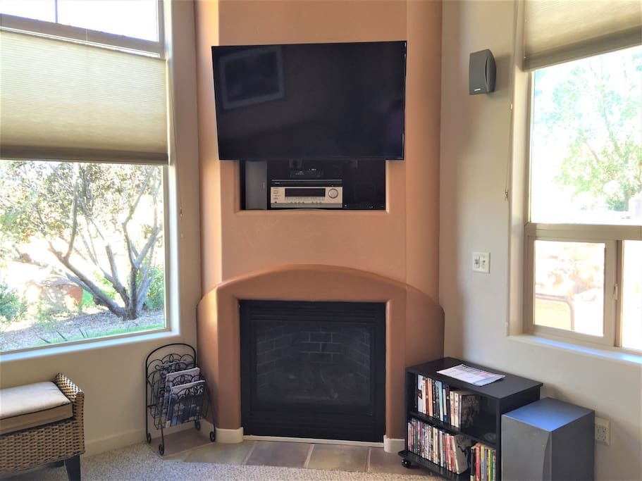 Gas fireplace and HDTV in living room