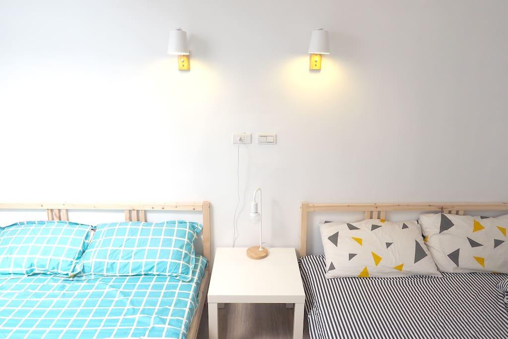 兩張標準雙人床配置