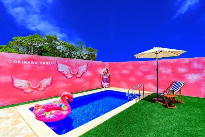 91 Private Pool♡Art Wall/3BR /Baby/Max14ppl/B