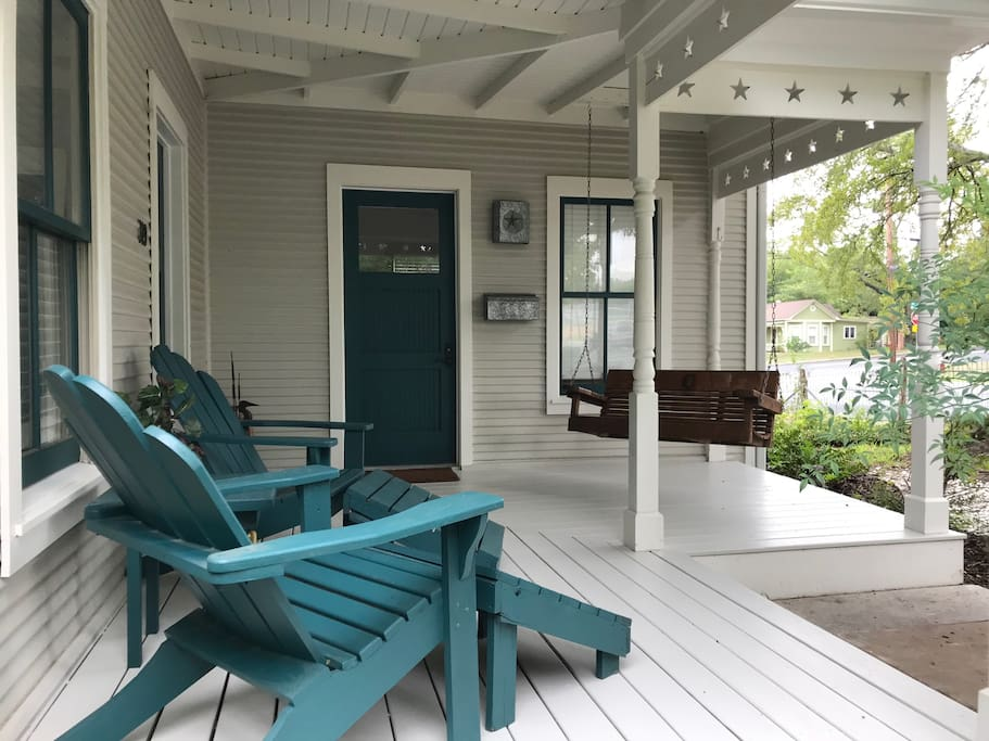 Enjoy visiting on the front porch.