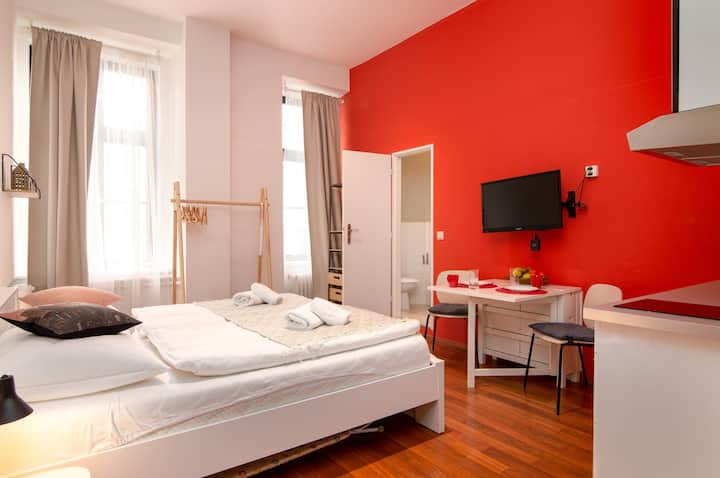 Bright & cozy studio in the heart of Prague w/ a kitchenette - walk everywhere!