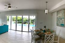 Dining  Large folding doors to pool area