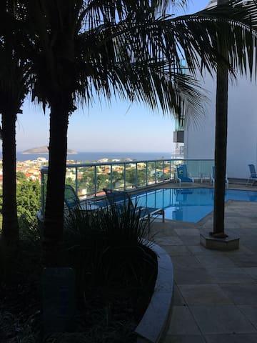 Apartamento com linda vista da praia de Camboinhas