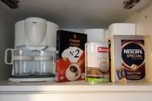 Cafetière filtres, café moulu et café instantané (1er)