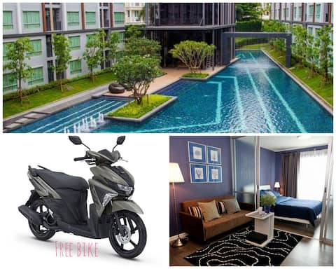 Cozy room large pool FREE BIKE 125 cc and WI-FI